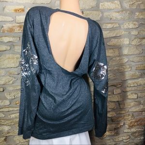 L Victoria's Secret PINK Sequin Open Back T Shirt